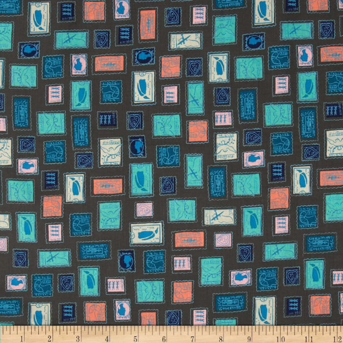 Cotton + Steel Homebody Stamps Teal