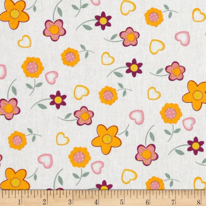 Tossed Daisies White/Gold/Mauve
