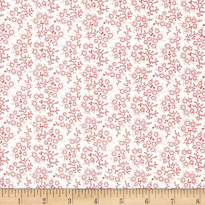 Mini Floral White/Red