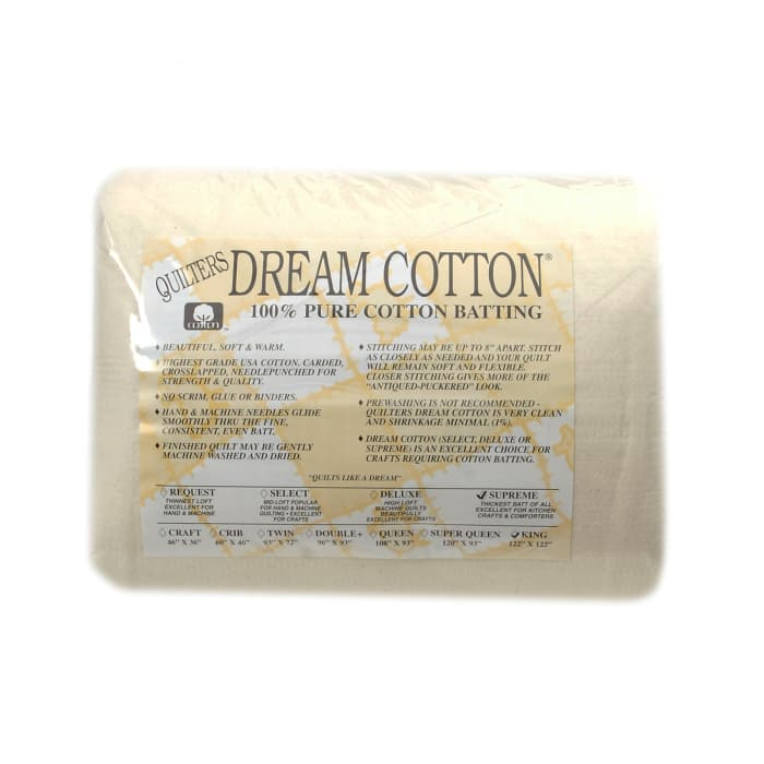 "Quilter's Dream Natural Cotton Supreme Batting (122"" x 120"") King"