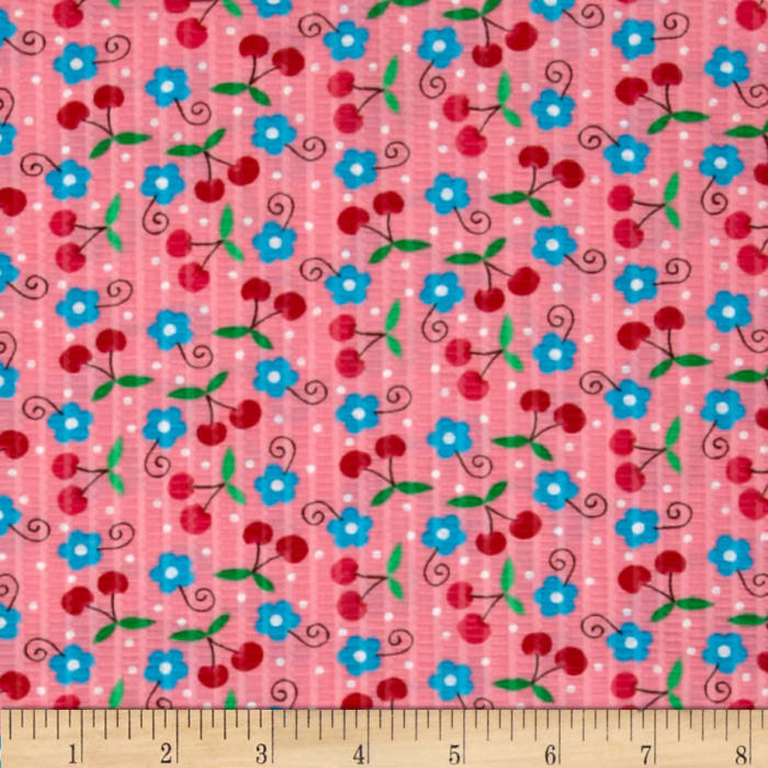 Tutti Frutti Plisse Flowers and Cherries Pink