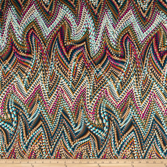 Venice Stretch ITY Jersey Knit Abstract Tan/Multi