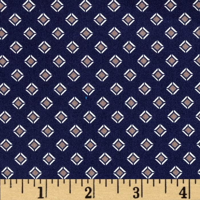 Morocco Blues Stretch Poplin Diamonds Navy/Taupe