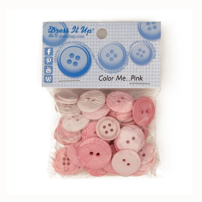Dress It Up Color Me Collection Buttons Pink