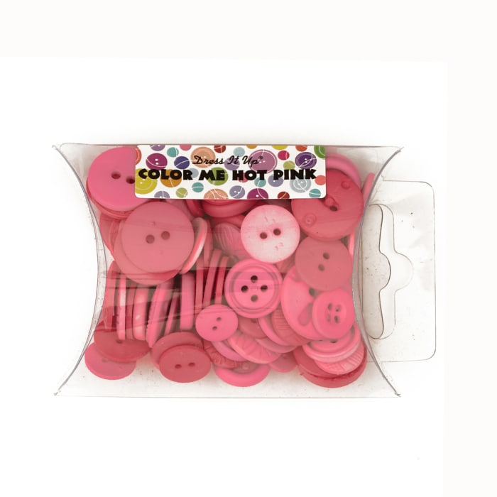 Dress It Up Color Me Collection Pillow Pack Buttons Hot Pink