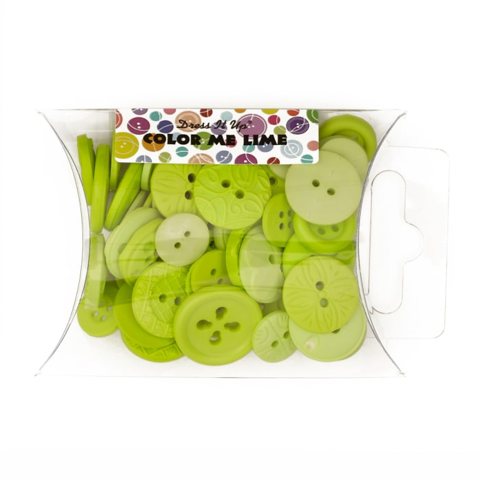 Dress It Up Color Me Collection Pillow Pack Buttons Lime
