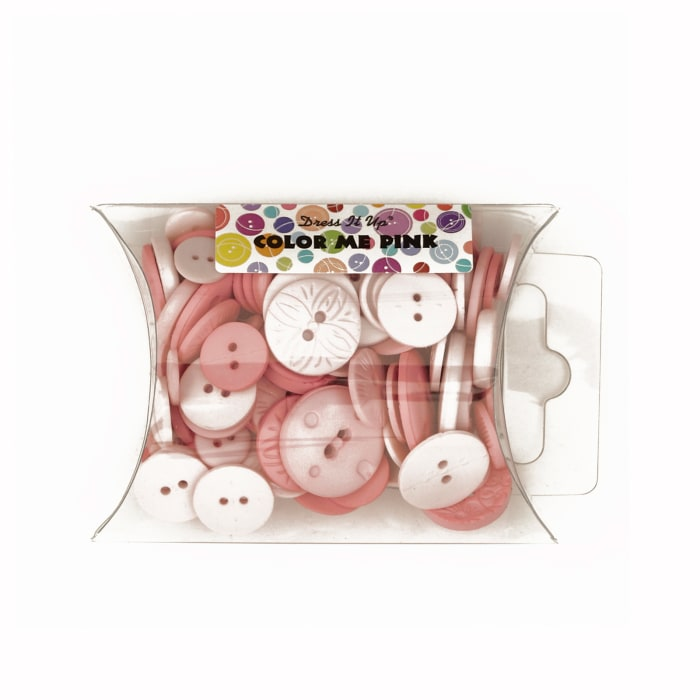 Dress It Up Color Me Collection Pillow Pack Buttons Pink