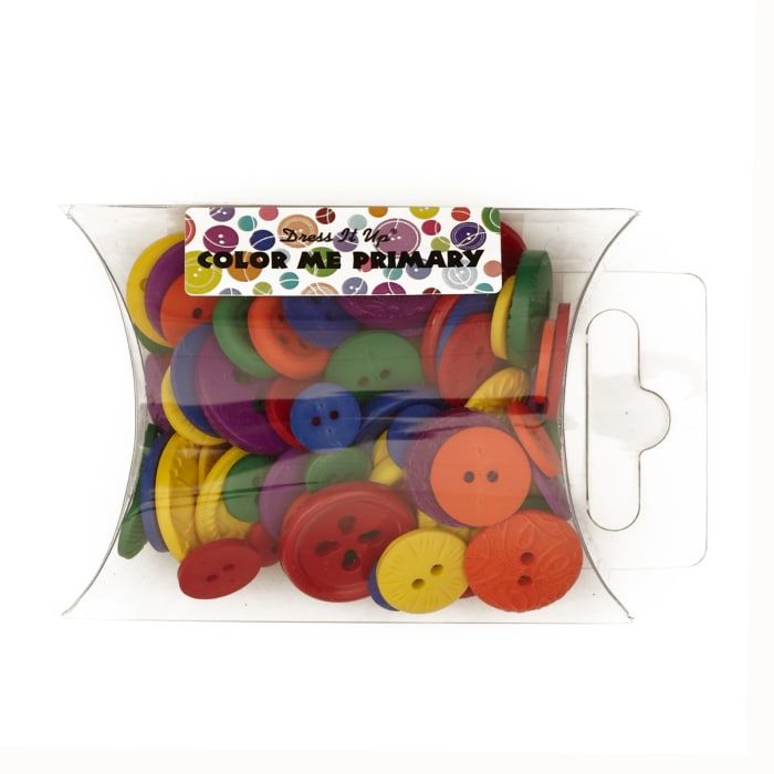 Dress It Up Color Me Collection Pillow Pack Buttons Primary Multi