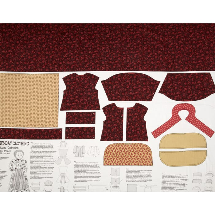 """Americana Collection Everyday Dress 24"""" Panel Red/Burgundy"""