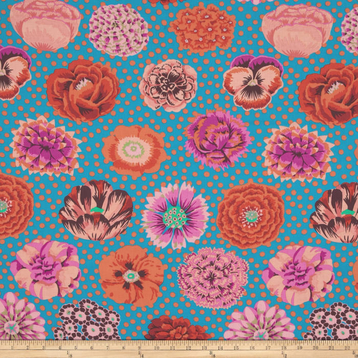 Kaffe Fassett Collective Big Blooms Turquoise