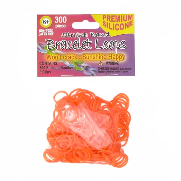 Silicone Band Loops 300/Pkg W/8 Clips-Orange