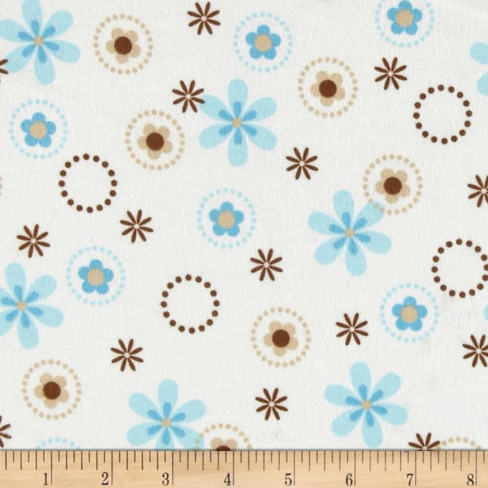 Cozy Cotton Flannel Multi Floral Aqua