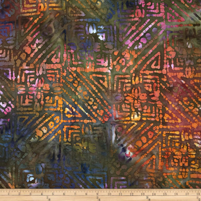 Indian Batiks Abstract Rust