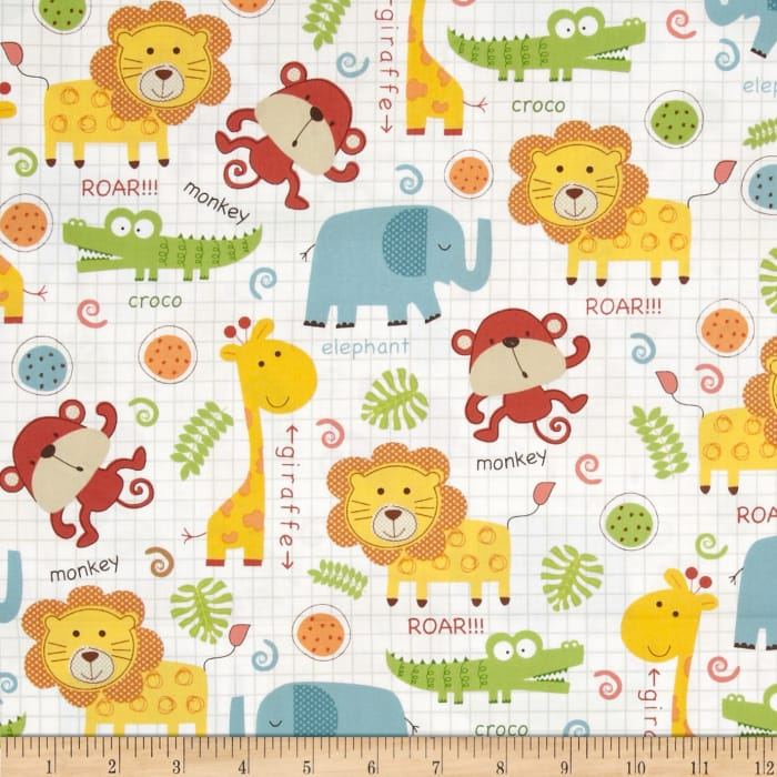 Timeless Treasures Peek-A-Zoo Baby Jungle Animals Multi