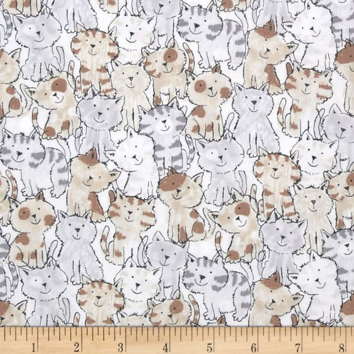 Timeless Treasures Babes in Farmland Cats Brown