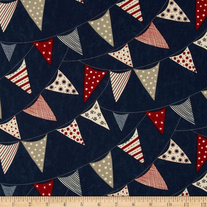 Moda Red, White & Free Buntings Navy