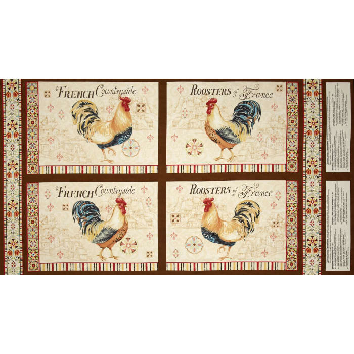 "Bohemian Roosters Placemat 24"" Panel Multi"