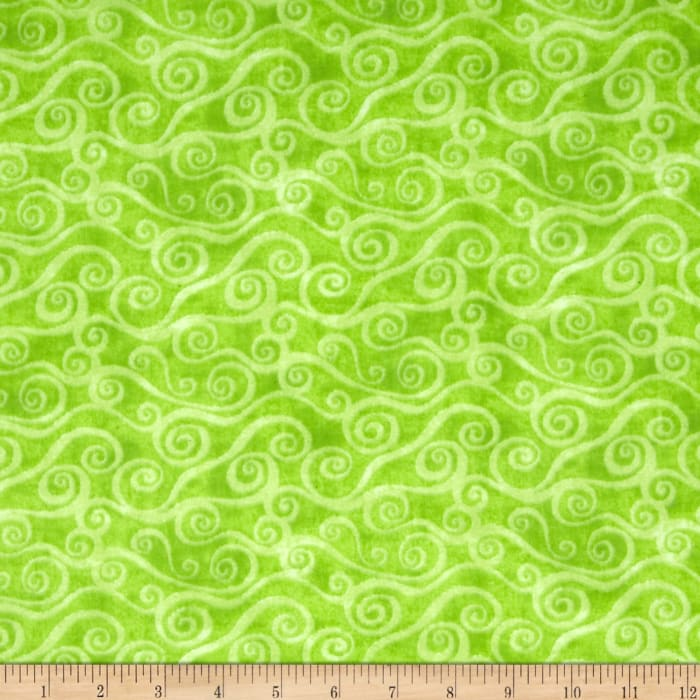 """108"""" Wide Quilt Back Flannel Swirly Scroll Lime"""