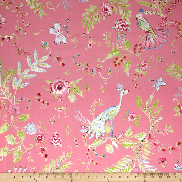 Chinoiserie chic birdsong pink discount designer fabric for Chinoiserie design