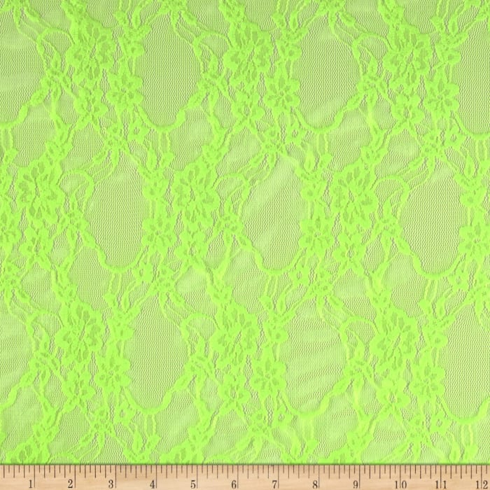 Stretch Floral Lace Neon Lime