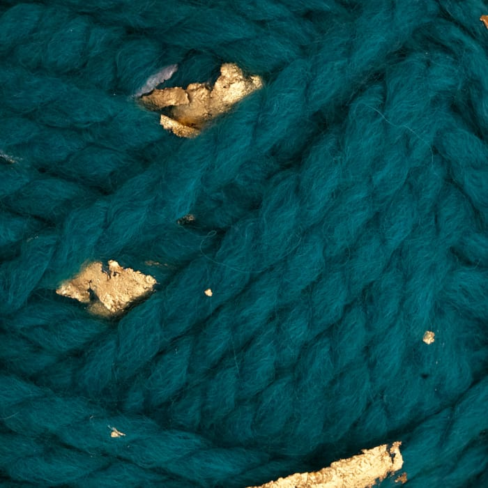 Lion Brand Yarn Gold Leaf Teal Gold