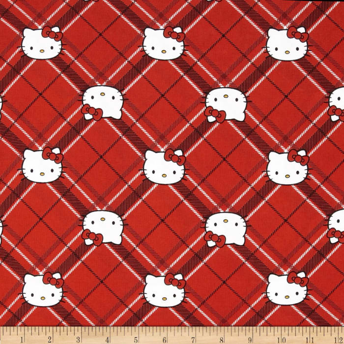 Hello Kitty Diamond Plaid Red