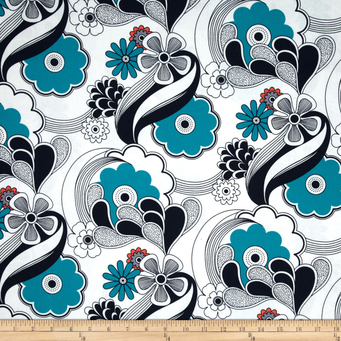 Auntie's Attic Floral Abstract Navy