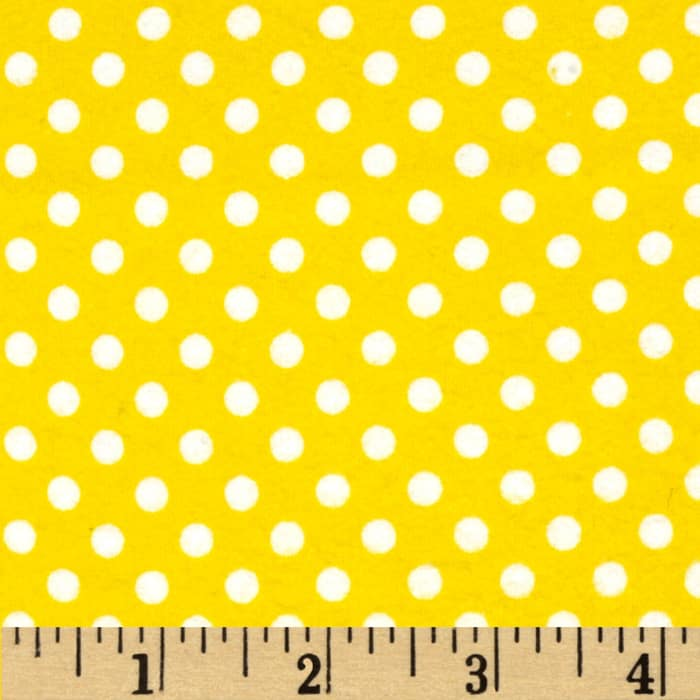 Basics Flannel Large Dot Yellow