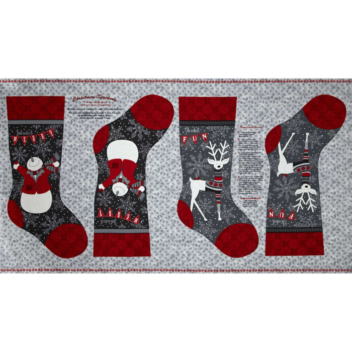 Holiday Magic Stocking Panel 24 In. Light Grey