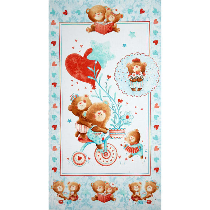 Puffy Teddy 24 In. Panel Blue