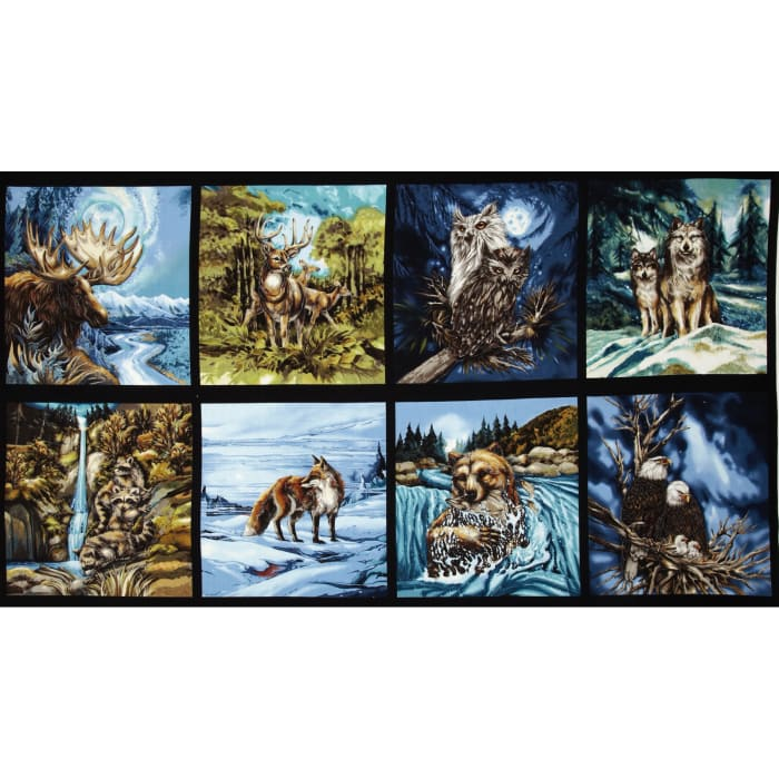North American Wildlife 3 Block Panel 24 In. Animals Nature