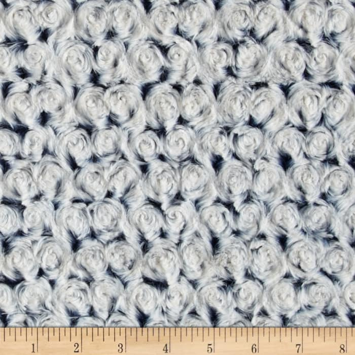 Shannon Minky Frosted Rose Cuddle Navy/Platinum