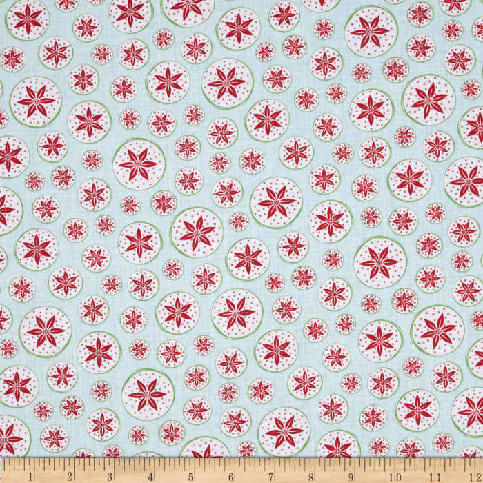 Frosty Forest Poinsettia Circles Aqua/Red
