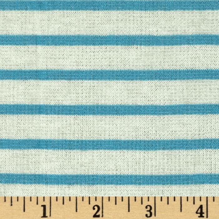 Designer Yarn Dyed Stripe Double Pique Jersey Knit Turquoise/White