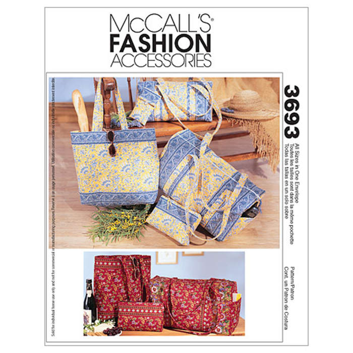 McCall's Duffle Bags, Make-Up Case, Tote Bag and Eyeglass Case Pattern M3693 Size OSZ