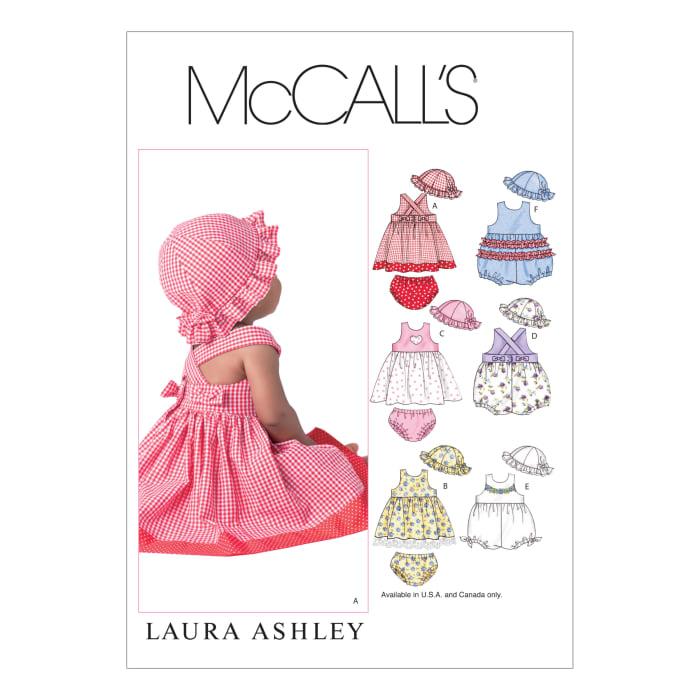 McCall's Infants' Dresses, Rompers, Panties and Hat Pattern M4424 Size OSZ