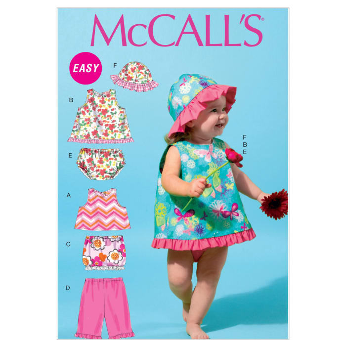 McCall's Infants' Tops, Skirt, Pants, Panties and Hat Pattern M6539 Size YA5