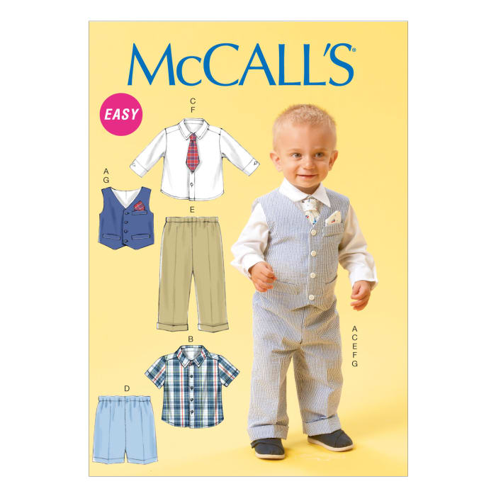 McCall's Infants' Vest, Shirt, Shorts, Pants, Tie and