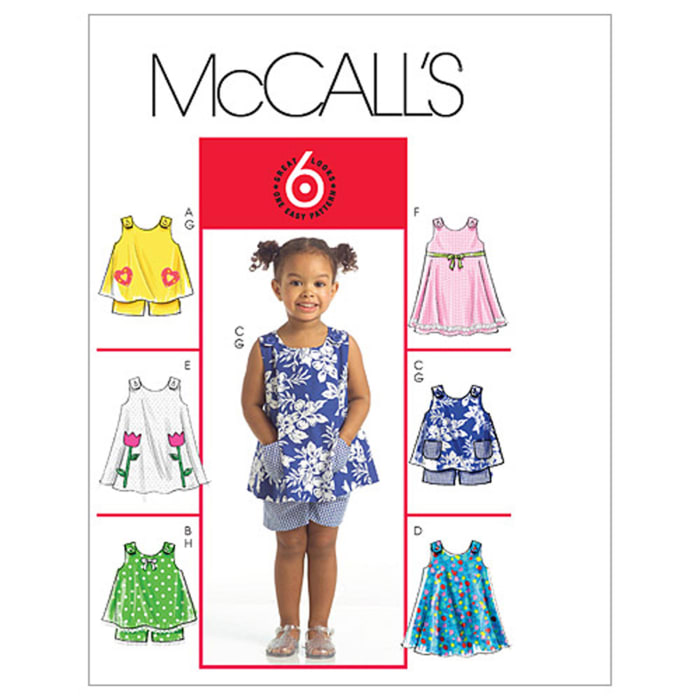 McCall's Toddlers' Tops, Dresses and Shorts Pattern M5416