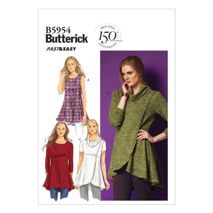Butterick Misses' Tunic Pattern B5954 Size 0Y0