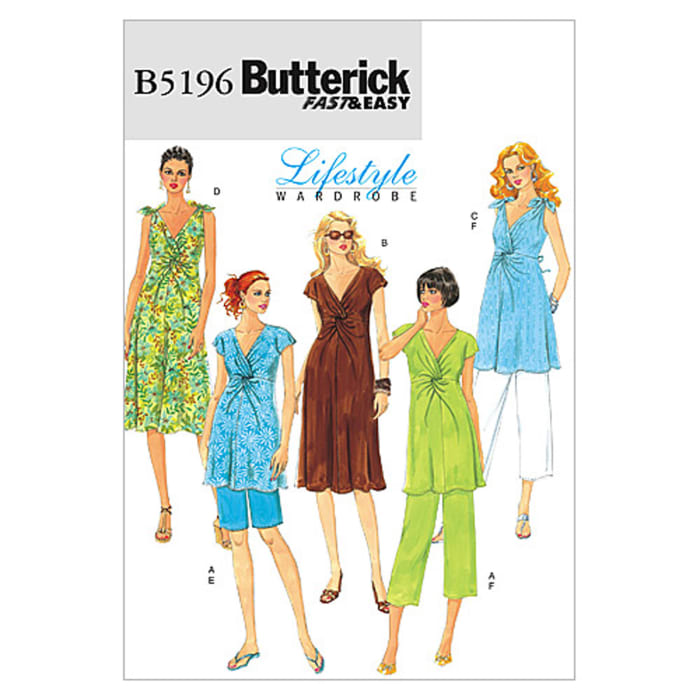Butterick Misses' Maternity Top, Dress, Shorts and Pants Pattern B5196 Size BB0