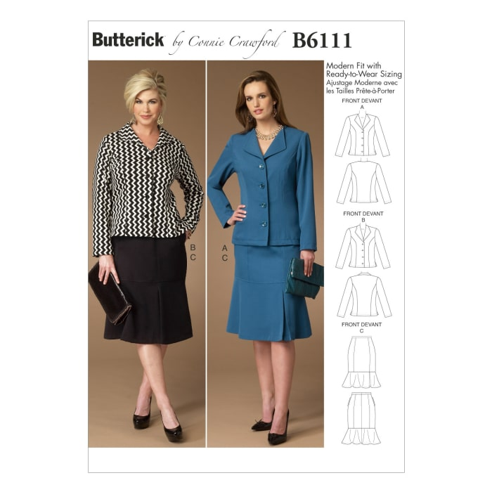 Butterick Misses'/Women's Jacket and Skirt Pattern B6111 Size MIS
