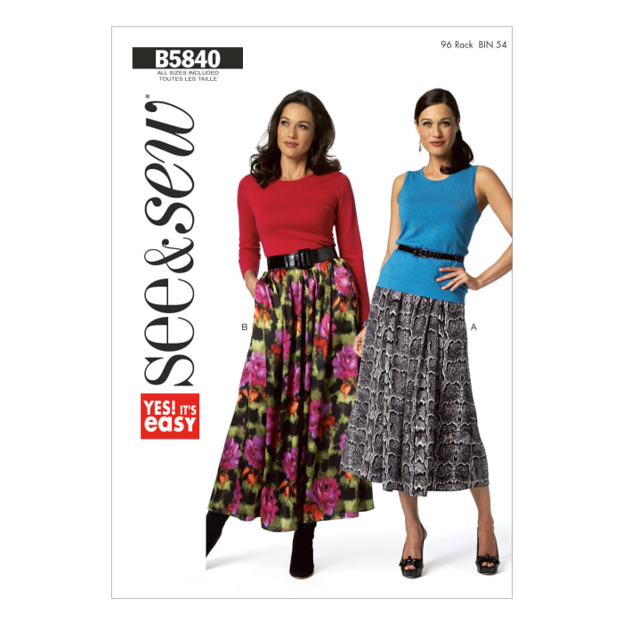 Butterick Misses' Skirt Pattern B5840 Size 0A0