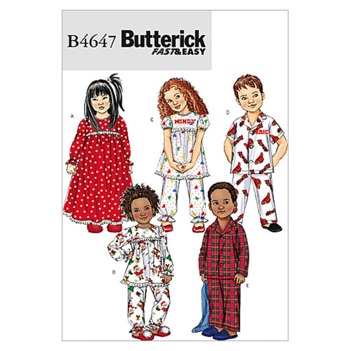 Butterick Toddlers'/Children's Nightgown, Pajama Top and Pants Pattern B4647 Size CB0