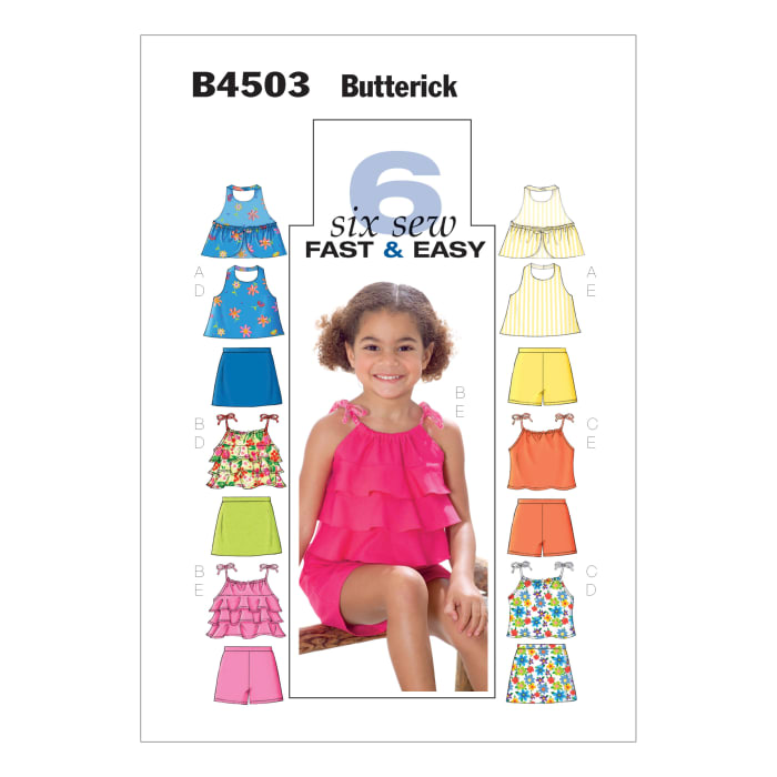 Butterick Children's/Girls' Top, Skort and Shorts Pattern B4503