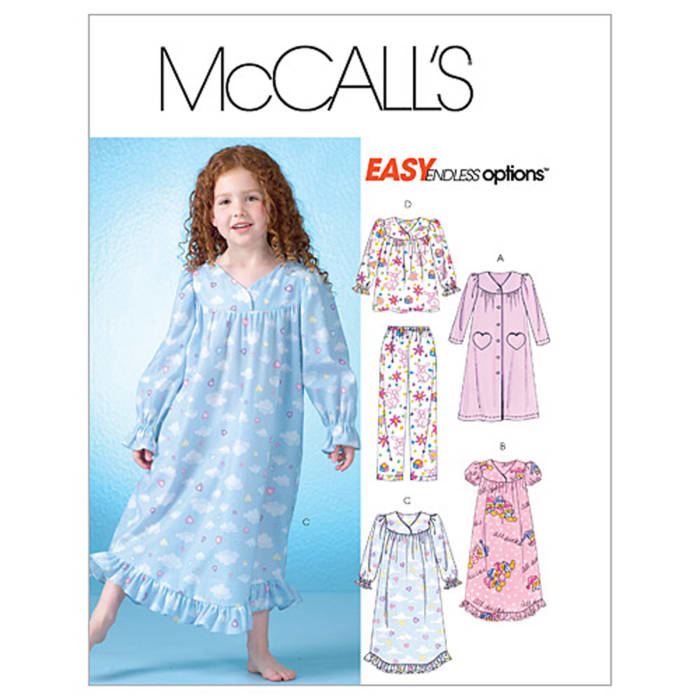 McCall's Children's/Girls' Robe, Gowns, Top and Pants Pattern M4646 Size CDD