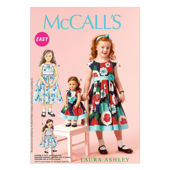 "McCall's Children's/Girls'/18"" Dolls' Dresses Pattern M6875. Size CDD"