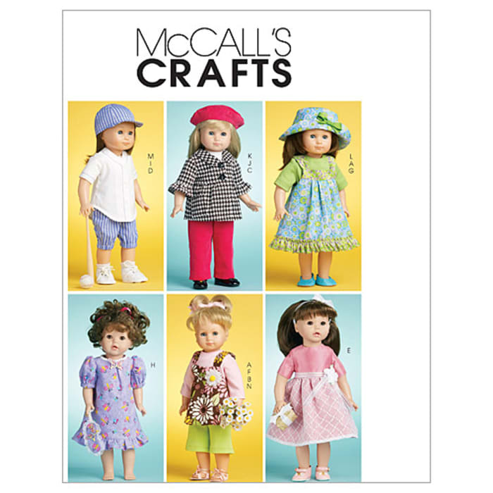 """McCall's Doll Clothes For 18"""" (46cm) Doll Pattern M6137 Size OSZ"""