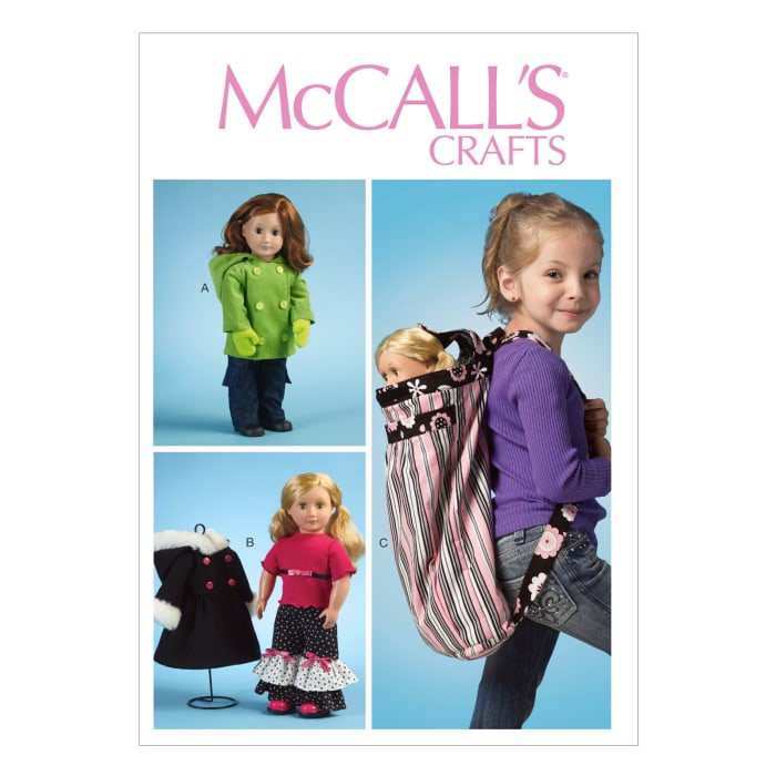 """McCall's Clothes For 18"""" Doll, Accessories and Carrier Pattern M6854 Size OSZ"""