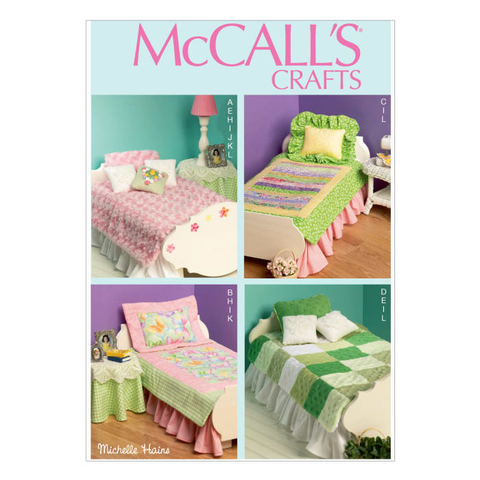 McCall's Bed and Bedding Ensemble, Table Skirt, Lamp and Night Stand Pattern M6718 Size OSZ